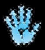 Half tone Hand Print on black background. Royalty Free Stock Photography