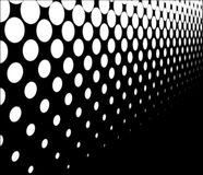 Half Tone Perspective. A half tone image with white dots set against a black background with perspective Stock Images
