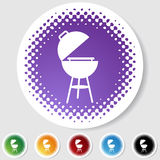 Half Tone Round Button Set - BBQ Royalty Free Stock Photography