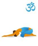 Half-tortoise yoga pose Stock Photo