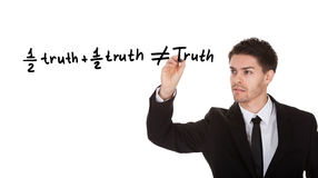 Half truth and half truth does not equal truth Stock Photos