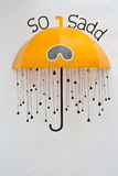 Half of umbrella with drawn handle Royalty Free Stock Images