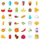 Half vegetarian icons set, cartoon style Stock Photos