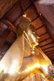 Half view of reclining buddha in Wat Pho Royalty Free Stock Image