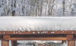 Half view of wooden table covered with snow and forest Stock Photo