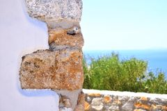 Wall and sea stock photography