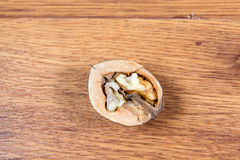 Half of walnut close up. A useful product. Royalty Free Stock Photography