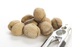 Half walnuts and nutcracker Stock Images