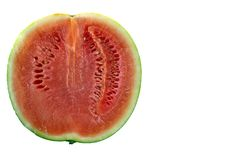 Half of a watermelon. Isolated on white Royalty Free Stock Photo