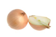 A half and a whole bulb onions isolated on white Stock Photography