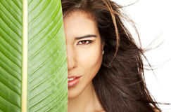 Half woman face leaf royalty free stock photography