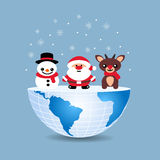 Half of the world with inside Christmas deer snowman and Santa C. Laus Stock Photo