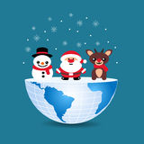 Half of the world with inside Christmas deer snowman and Santa C. Laus on blue Royalty Free Stock Photos