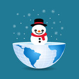 Half of the world with inside a Christmas snowman.  Royalty Free Stock Photos