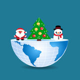 Half of the world with inside christmas tree snowman and Santa C. Laus Royalty Free Stock Images