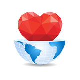 Half of the world inside heart Valentine`s Day.  Stock Photos
