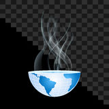 Half of the world inside transparent smoke on transparent Royalty Free Stock Image