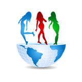 Half of the world with three dancing girls.  Stock Image