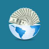 Half of the world to the inside full of dollars bills money on b Royalty Free Stock Images
