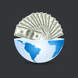 Half of the world to the inside full of dollars bills money on g Royalty Free Stock Photo