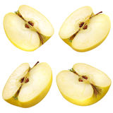 Half of a yellow apple. collection. clipping path Stock Image