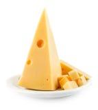 Half yellow cheese isolated on white Stock Photos
