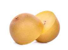 Half of yellow or gold kiwi fruit  on white Stock Photos