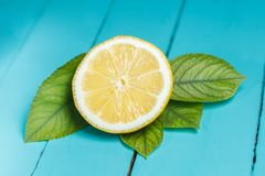 Half of yellow lemon on table. Half of yellow juicy lemon with leaves on blue table Stock Image
