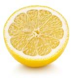 Half of yellow lemon citrus fruit isolated on white stock image