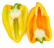 Half of yellow and orange bell pepper isolated Stock Photo