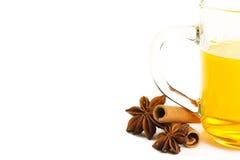 Half yellow tea cinnamon and anise Stock Image