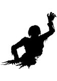 Half zombie men silhouette. Illustration half part of the rotten zombie's body. He stretches his hand forward Royalty Free Stock Photo