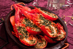 Halfed maine lobsters on a plate Stock Image