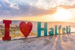 Halfeti town name letters with heart shaped. A top of hill in Sanliurfa,Turkey.20 July 218 stock photos