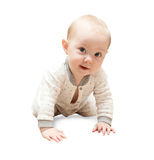 Halfjaarlijkse oude baby op de vloer Stock Foto's