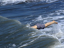 Halfman in the sea. Diving Royalty Free Stock Photo