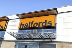 Halfords outlet for car accessories, bicycles and camping equipment Stock Image