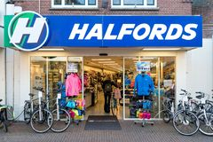Halfords store in Sneek, the Netherlands. Halfords Nederland B.V. owns and operates a chain of bike and car part stores in Netherlands and Belgium royalty free stock image