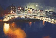 Halfpenny Bridge. No: MW011  digital painting at twilight,of the Halfpenny Bridge and River Liffey,Dublin,Ireland Stock Photography