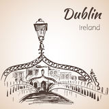 Halfpenny most, Dublin, Irlandia royalty ilustracja
