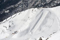 Halfpipe on a mountain Royalty Free Stock Photos