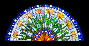 Halfround Stained Glass Window. In floral style Royalty Free Stock Photo