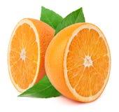 Halfs апельсина с листьями Стоковая Фотография