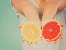 Halfs желтых красных цитрусовых фруктов грейпфрута в человеческих руках Стоковое Изображение RF