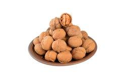 Halfs стерженя грецкого ореха в деревянном шаре Стоковая Фотография