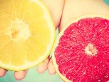Halfs de los agrios rojos amarillos del pomelo en manos humanas Imagen de archivo libre de regalías