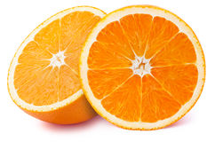 Halfs of orange isolated Stock Photos