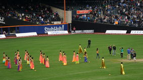 Halftime show at The 2015 Cricket All-Stars Match in New York. Halftime show at The 2015 Cricket All-Stars Exhibition Match at Citi Field in New York, on stock photo