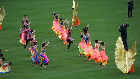 Halftime show at The 2015 Cricket All-Stars Match in New York. Halftime show at The 2015 Cricket All-Stars Exhibition Match at Citi Field in New York, on Royalty Free Stock Image
