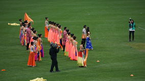 Halftime show at The 2015 Cricket All-Stars Match in New York. Halftime show at The 2015 Cricket All-Stars Exhibition Match at Citi Field in New York, on stock images